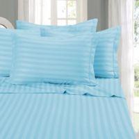 Elegant Comfort Wrinkle Resistant Stripe Queen Sheet Sheet in Aqua