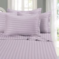 Elegant Comfort Wrinkle Resistant Stripe Full Sheet Sheet in Lilac