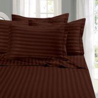 Elegant Comfort Wrinkle Resistant Stripe California King Sheet Sheet in Chocolate