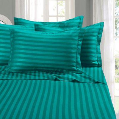 Elegant Comfort Wrinkle Resistant Stripe California King Sheet Sheet In  Turquoise