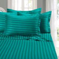 Elegant Comfort Wrinkle Resistant Stripe Full Sheet Sheet in Turquoise