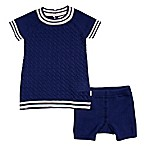 Cuddl Duds® Newborn 2-Piece Cable Knit Dress and Short Set in Navy