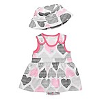 Boppy® Newborn 2-Piece Sketch Hearts Terry Bubble Dress and Bucket Hat Set in Pink/Grey