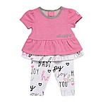 Boppy® Size 9M Happy Baby 2-Piece Short Sleeve Top and Pant Set in Pink