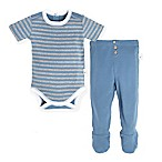 Burts Bee's Baby® Newborn 2-Piece Stripe Bodysuit and Footed Pant Set in Blue