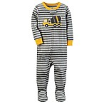 carter's® Size 12M Stripe Construction Truck Pajama in Grey