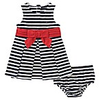 Tommy Hilfiger® Size 3-6M 2-Piece Striped Dress and Diaper Cover Set in Navy/White