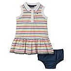 Tommy Hilfiger® Size 6-9M 2-Piece Striped Polo Dress and Diaper Cover Set