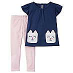 carter's® Size 6M 2-Piece Bunny Pocket Top and Striped Legging Set
