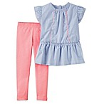 carter's® Size 12M 2-Piece Ticking Stripe Top and Legging Set