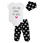 Mini Heroes Newborn 3-Piece World Heart Bodysuit, Pant, and Bandana Set