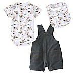 Carhartt® Size 6M 3-Piece Construction Bodysuit, Shortall, and Bib Set in Blue/White