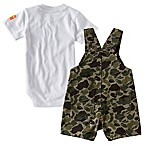 Carhartt® Size 18M 2-Piece Trail Monster Bodysuit and Shortall Set in Green Camo