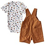 Carhartt® Wilderness Size 12M 2-Piece Bodysuit and Shortall Set in Brown/White