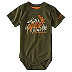 "Carhartt® ""Born To Be Outdoors"" Size 3M Short Sleeve Bodysuit in Olive"