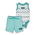 Lamaze® Newborn 2-Piece Wave Sleeveless Bodysuit and Short Set in Aqua