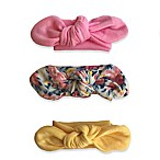 Curls & Pearls 3-Pack Knot Headbands in Pink/Floral/Yellow