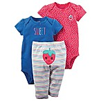 carter's® Preemie 3-Piece Strawberry Character Bodysuit and Pant Set in Blue/Pink