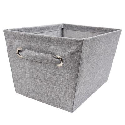 E Z Do Medium Textured Canvas Storage Bin In Grey