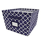 French Print Large Fabric Bin in Navy