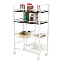 Mind Reader Metal Kitchen Storage Trolley in White