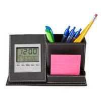 Mind Reader 3-Compartment Desk Organizer with Clock in Black