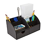 Mind Reader 6-Compartment Curved Desk Organizer in Black