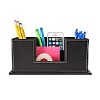 Mind Reader Faux Leather 4-Compartment Compact Desk Organizer in Black