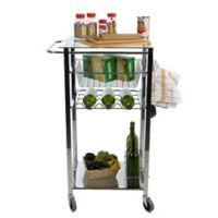 Mind Reader Glass Top Mobile Kitchen Cart in Silver