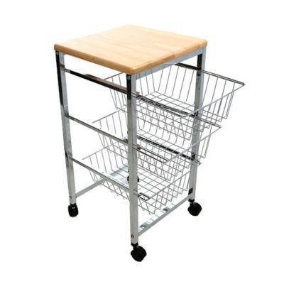 Mind Reader 3-Tier Wire Basket Kitchen Cart with Wood Surface in Silver  sc 1 st  Bed Bath u0026 Beyond & Buy 3 Tier Storage Cart from Bed Bath u0026 Beyond