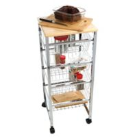 Mind Reader 4-Tier Wire Basket Kitchen Cart with Wood Surface in Silver