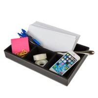 Mind Reader Faux Leather 4-Compartment Desk Organizer in Black