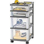 IRIS® 4-Drawer Storage Cart with Organizer Top in Grey (Set of 2)
