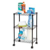 IRIS® 3-Tier Rolling Wire Shelf in Black