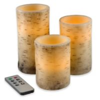 Nottingham Home 3-Piece Birch Bark Flameless LED Candle Set with Remote