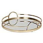 Kate and Laurel Naples Round Mirrored Tray in Gold