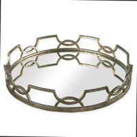 Sterling Industries Hucknall Small Iron Scroll Mirrored Tray in Deep Silver