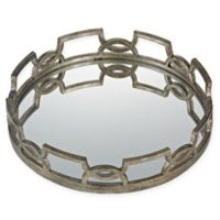Sterling Industries Hucknall Large Iron Scroll Mirrored Tray in Deep Silver