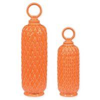 Sterling Industries Lidded Ceramic Jars in Tangerine Orange (Set of 2)
