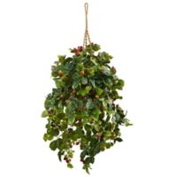 Nearly Natural 24-Inch x 42-Inch Raspberry Plant Hanging Basket