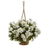 Nearly Natural 19-Inch Geranium Indoor/Outdoor Hanging Basket in White