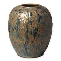 Emissary Botanical Relief 12-Inch x 14.5 Inch Ceramic Vase in Blue Bayou