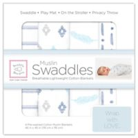SwaddleDesigns® 4-Pack Pre-Washed Cotton Muslin Swaddle Blankets in Denim