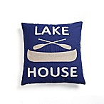 Lake House Square Throw Pillow in Navy