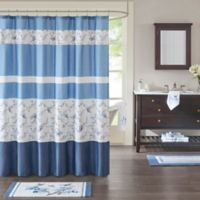 Madison Park Solandis Printed Shower Curtain in Blue