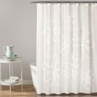 Lush Dcor Ruffle Flower Shower Curtain In White
