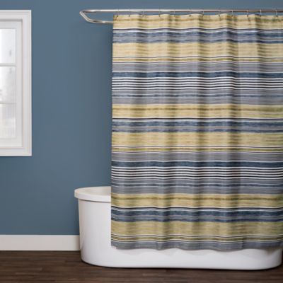 Saturday Knight Right Stripe Shower Curtain In Blue