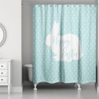 """Designs Direct """"Happy Easter"""" Shower Curtain in Blue"""