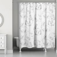 Designs Direct Bunny Sketch Shower Curtain in Grey