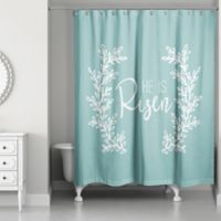 """Designs Direct """"He Is Risen"""" Shower Curtain in Teal"""